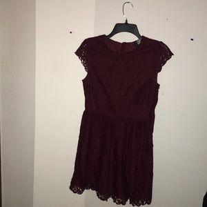 Beautiful burgundy lace dress.